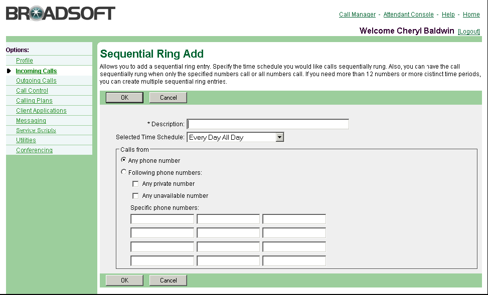 Figure 47 Sequential Ring Sequential Ring Add 1) On the User Incoming Calls menu page, click Sequential Ring. The User Sequential Ring page appears. 2) On the User Sequential Ring page, click Add.