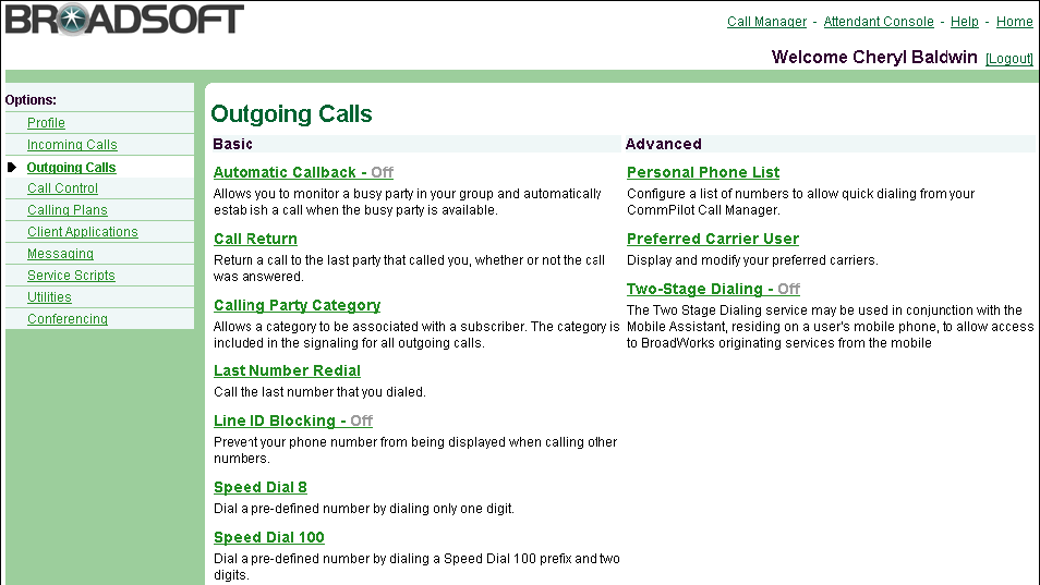 4 Outgoing Calls Use the User Outgoing Calls menu page to manage outgoing calls, for example, blocking your line ID or programming speed dial codes.