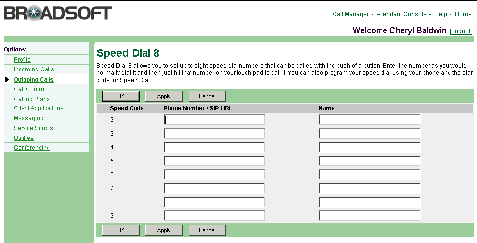 4.7 Speed Dial 8 Figure 60 Outgoing Calls Calling Line ID Delivery Blocking 1) On the User Outgoing Calls menu page, click Line ID Blocking. The User Calling Line ID Delivery Blocking page appears.