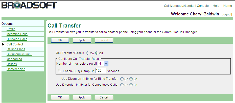 5.10 Call Transfer Use this menu item on the User Call Control menu page to transfer a call at the phone without the call control functionality.