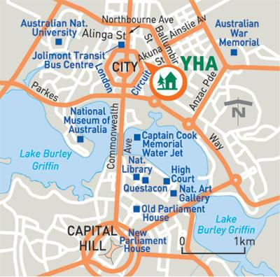 Transport and getting to Canberra City YHA Location & Parking Canberra City YHA is located in the city centre, close to lively cafés, restaurants and bars.