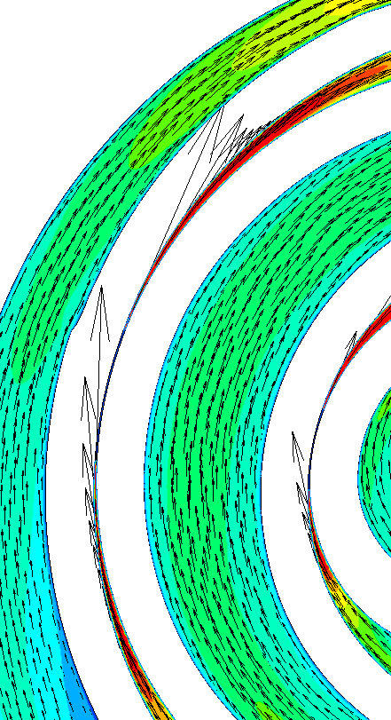 CFD Mass flow rate (gaps) Velocity [m/s] Expander from the discharge chamber to the outlet volume (casing) from