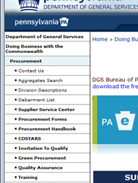 Navigate to the DGS COSTARS page using Internet Explorer 6.0 through 8.0 only: www.costars.state.pa.us Alternatively, navigate to the DGS home page at www.