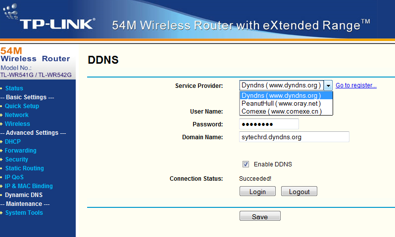 Method I (Recommended) Configure the router at the installation site to obtain DNS domain Requirements: The router at the installation site supports Dynamic DNS Service Step1: Register DNS Hostname