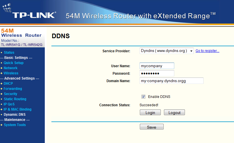 Step2: Set your router to use that DYNDNS Service. Paste the Hostname my-company.dyndns.