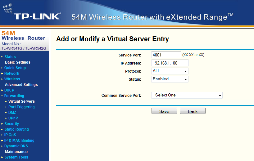 Step3: Setup Port forwarding for the EWS Click on Forwarding/Virtual servers Click