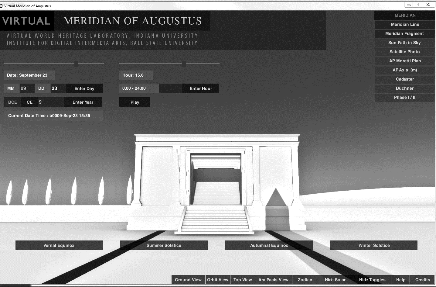 Results of virtual fieldwork: testing Buchner s theory The computer simulation was used to test whether the shadow of the obelisk moves