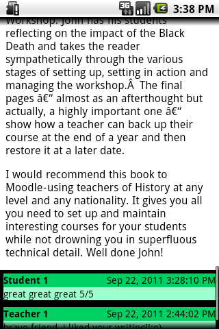 Moodle on Android 81 Figure 7. Blog post Teachers using Moodle develop course content and prepare quizzes.