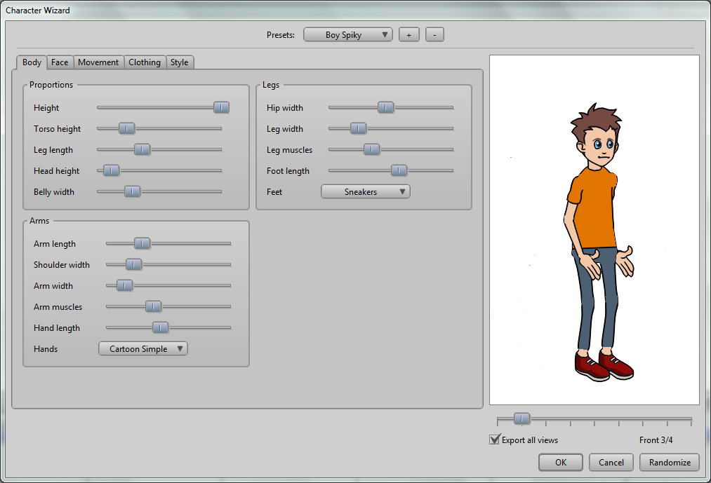 Character Wizard Quickly design ready-to-animate characters using the built-in Character Wizard.