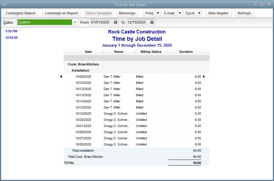 Viewing Time Data in More Detail Viewing Time Data in More Detail Like all QuickBooks reports, you can QuickZoom any of the numbers in a report to see more detail.