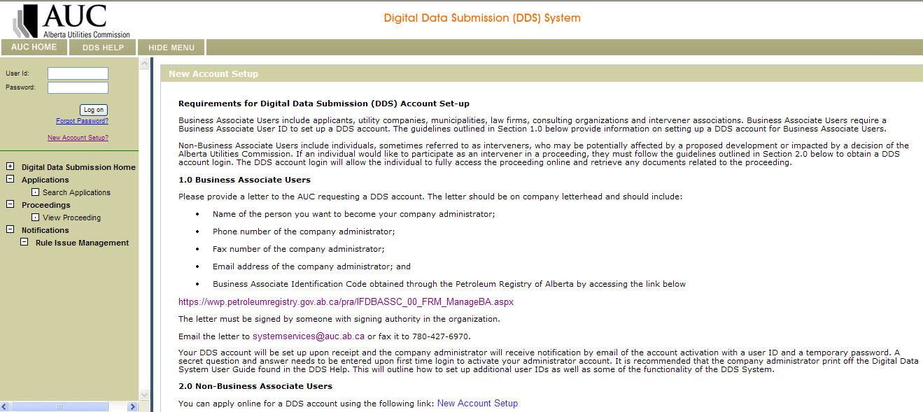 Click Digital Data Submissions on the following screen to open the main DDS login page.