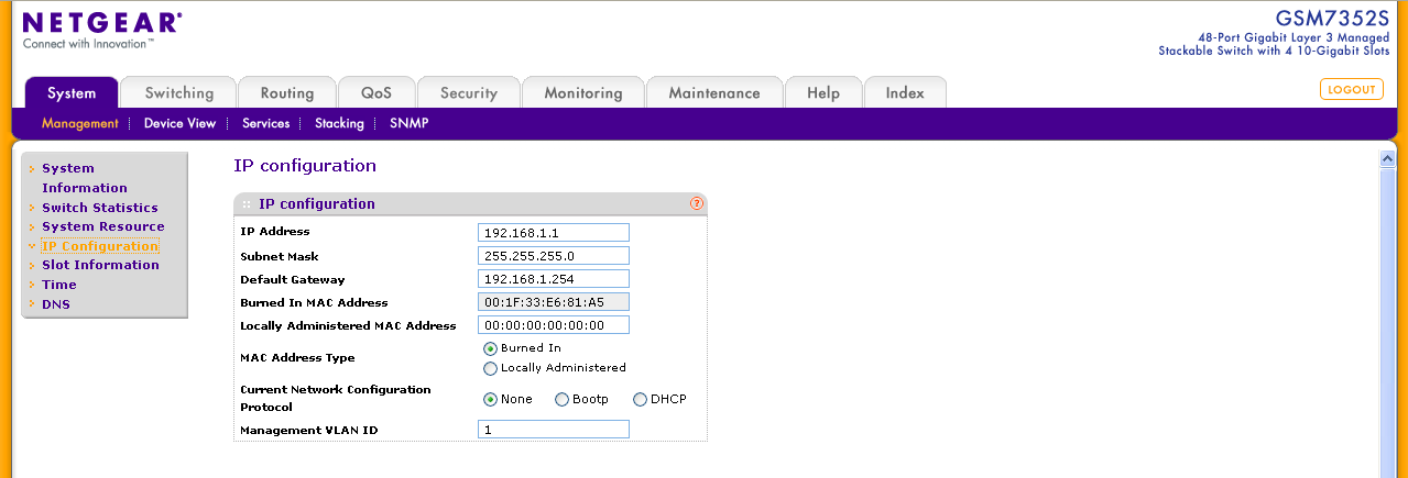 When a Management IP address is configured, the Web Interface of the switch can be accessed.