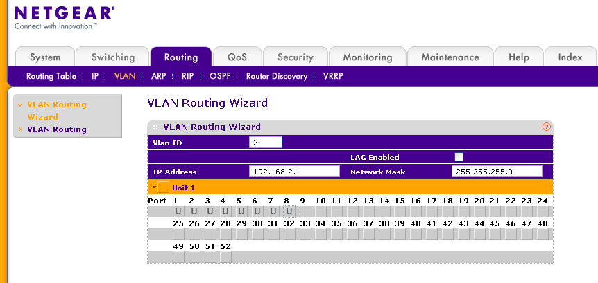 4 - Creating a routing VLAN To create routing VLANs access the VLAN Routing Wizard via Routing VLAN. 1) Type the VLAN ID (in the example the VLAN ID is 2) 2) Specify the IP address (192.168.2.1) and the subnet mask (255.