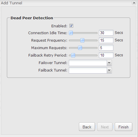 - Step 18: For Dead Peer Detection leave the default settings. - Step 19: Click Finish.