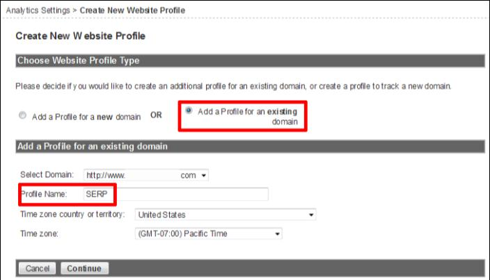 GOOGLE ANALYTICS FILTERS - SERP Go to Analytics Settings 1 Click on Add new profile 2 From the Create New Website Profile screen 3 Select Add a Profile