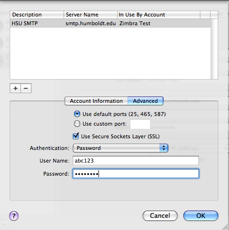 Make sure the Use default ports (2, 4, 8) radio button is selected. Click the Use Secure Socket Layers (SSL) box.