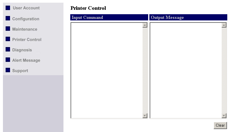 "Printer Control Input printer's command language in ""Input Command"" window and press Enter key, the server will then transfer a line of commends to printer."