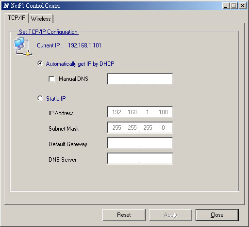 4. After you have logged in successfully, select TCP/IP from the Server s menu. The Set IP Address dialog appears. 5.