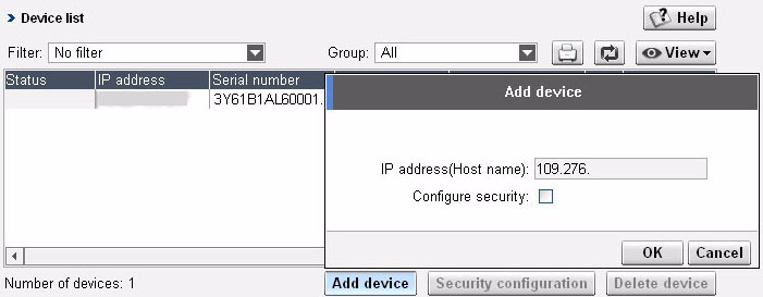 If you know the IP address of the devices that you want to find, you can add the devices using the Add device button, which is located in the Devices > Device list page.
