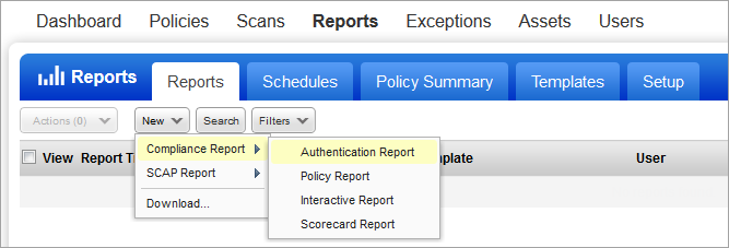 Reporting Overview Policy Compliance Reports All policy compliance reports are based on the most recent compliance scan for each host. There are template based reports and interactive reports.