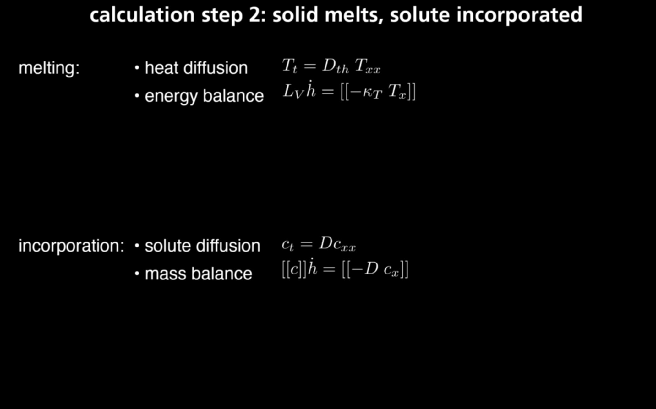 Optimizing dopant profile calculation step 2: solid melts, solute incorporated
