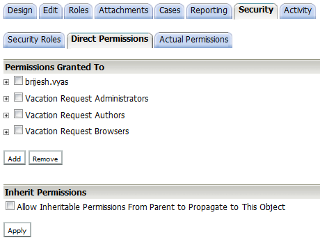 II. Direct Permissions In the Direct Permissions tab, you are able to add and set permissions to users and groups.