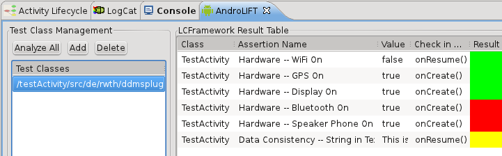 Figure 7. Output of the AndroLIFT Plug-in test results from which Activity he wants to see. If his application contains multiple Activities, they are listed on the left side.