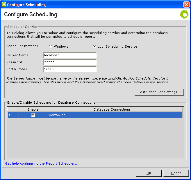 If the Logi Ad Hoc Scheduling Service will be used, highlight the Logi Scheduling Service option and the Configure Scheduling dialog will display: Enter the Server Name where the service was