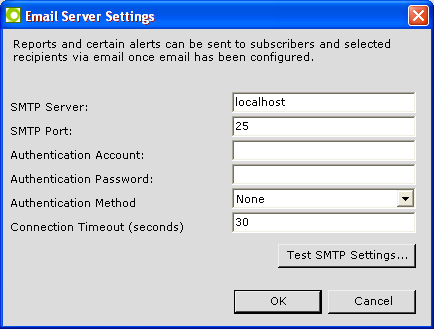 To configure the SMTP server, click on the Edit Email Server Settings button to display the following dialog: Enter the SMTP attributes.
