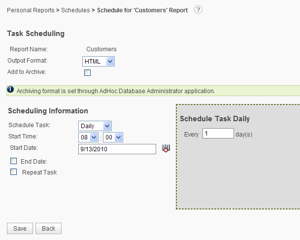 Creation of the Schedule To create a schedule for a report, in the Report List hover the mousepointer over the icon and select the Schedule option from the dropdown list of possible actions for the