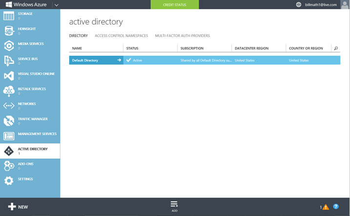 Step 3: Create a Windows Azure AD Tenant Now that we have a Windows Azure subscription, we are going to create a Windows Azure Active Directory Tenant.