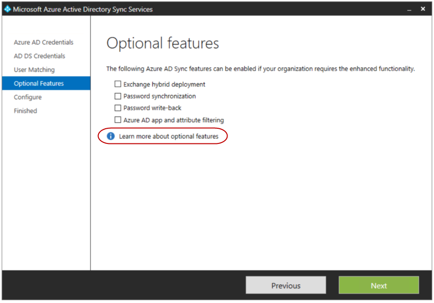 8. On the Optional Features windows, leave the defaults and click Next.