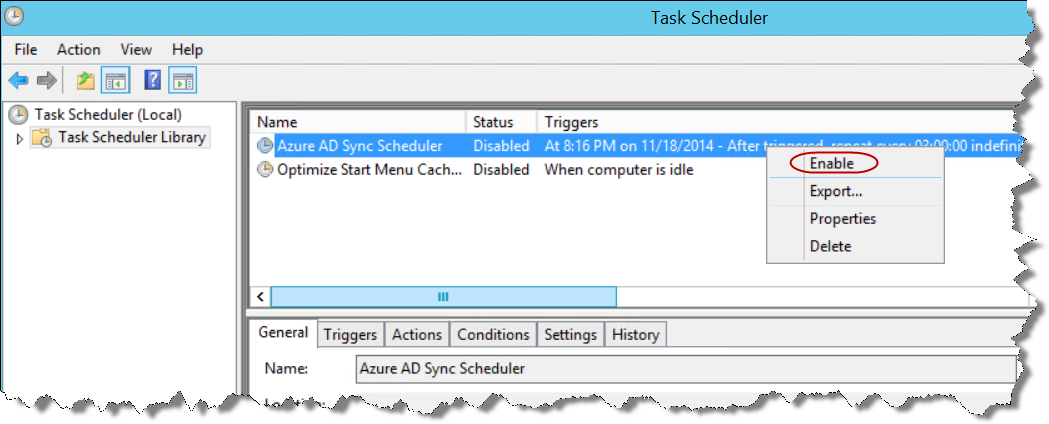 7. Since we deselected Synchronize now at the end of the Azure AD Sync tool, it created a disabled task in Task Schedule. You will need to enable this for synchronization to occur.