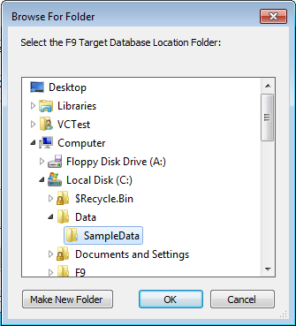 5. Create F9 Target Database a. Browse to a location for F9 s Tables to reside. b.