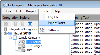 8. Automation Automation allows you to create a package with its batch file to use later with Windows Task Scheduler to schedule integration for the selected tasks. To create a batch file: a.