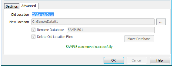 c. Browse to a New Location (Example: C:\SampleData01). Note Note: You can rename the database by checking Rename Database and entering a new database name (Sample01).