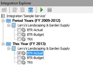 3. Integration Explorer This window lists and manages all open or newly created integrations in the form of a nested tree with its own toolbar.
