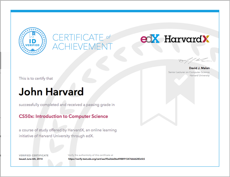 Note: In the past, edx also offered free honor code certificates. These certificates are no longer available for most new courses.