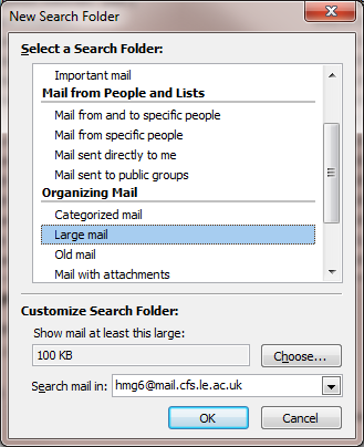 5. Click OK Save and remove large attachments The space taken up by a 1 MB attachment is equivalent to the space taken up by approximately 100 standard email messages.