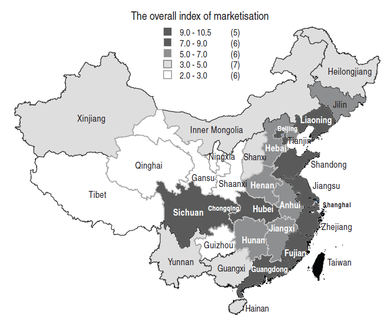 As for China, if we count only proper provinces ( 省 ), the highest GDP per capita (PPP) is in Zhejiang (11,591 USD), the lowest in Guizhou (2,682 USD). Zhejiang is thus 4.