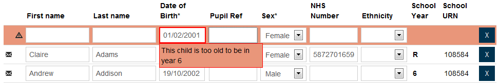 7. Once the two mandatory fields and any other pupil data have been completed in this, or in any of the other four tabs, either: a. Click OR b. Click to add more pupils.