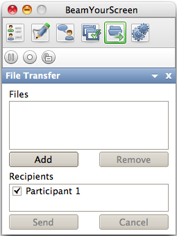 File Transfer You can transfer Files to your participants during a session. Click on the drawer will open underneath. icon.