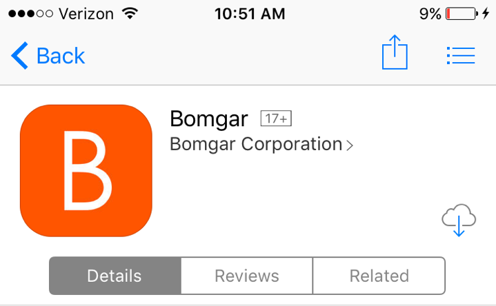 Download the ios Customer Client App to Receive Support The Bomgar customer client for iphone, ipad, and ipod touch is available for free download from the Apple App Store.