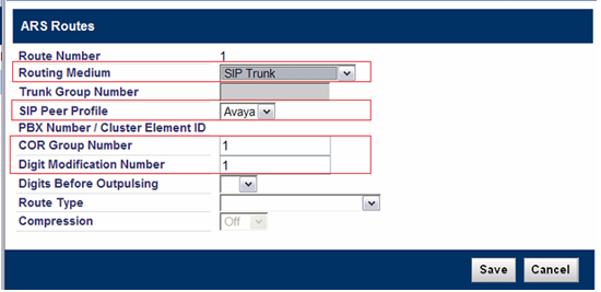 6.8 Program ARS Digit Modification Plans Form Navigate to Call Routing Automatic Route Selections (ARS) ARS Digit Modification Plans In this example Digit Modification Number of 1 is used.
