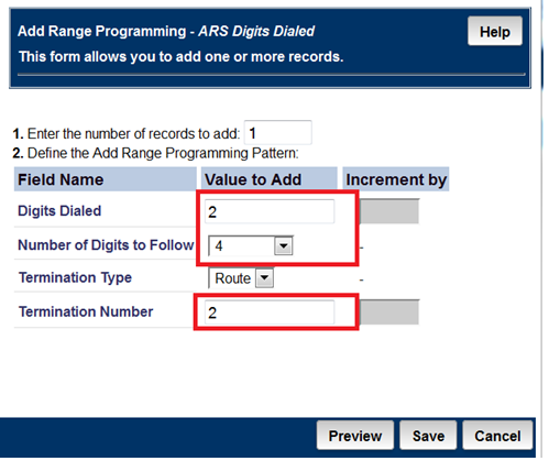6.10 Program the ARS Digits Dialed Form Navigate to Call Routing Automatic Route Selection (ARS) ARS Digits Dialed In this example the Avaya extensions are 5 digits in length and begin with a 2.