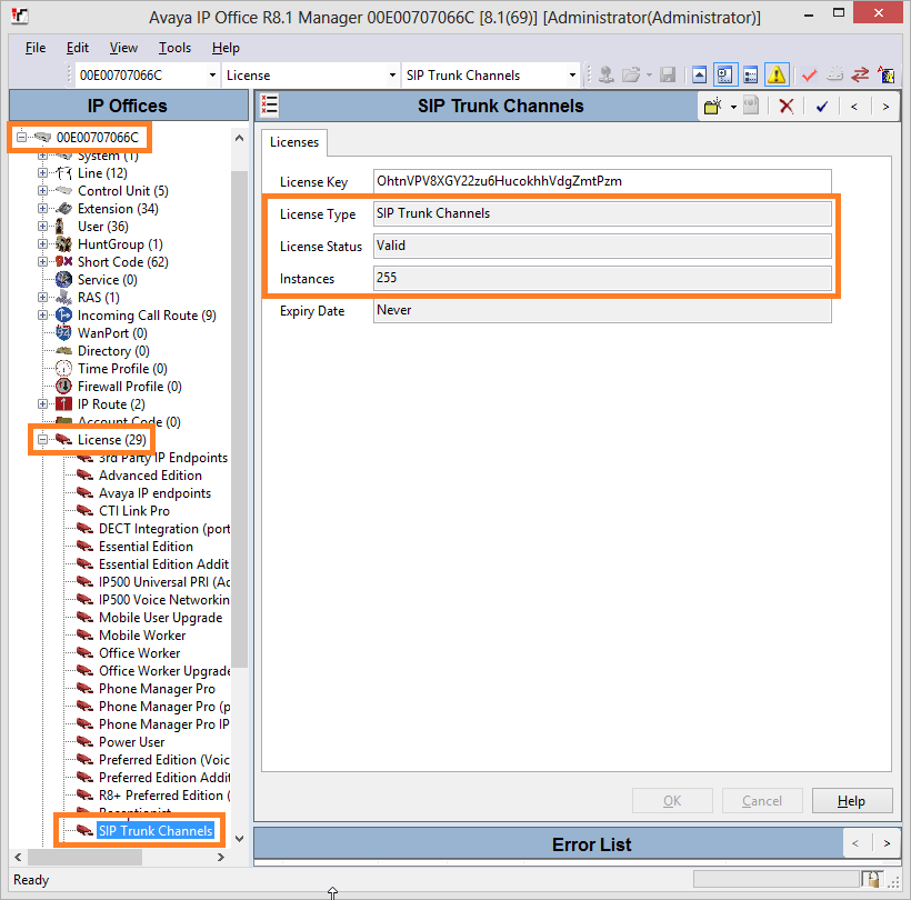 5.3 Verify Avaya IP Office Licenses From the left pane, expand License and highlight SIP Trunk