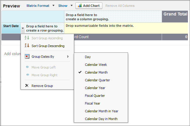 Tutorial #3: Getting the Most From Collaborative Forecasts Step 5: Create a Forecasting Custom Report Type and Forecasting Report 5. Create a row grouping.