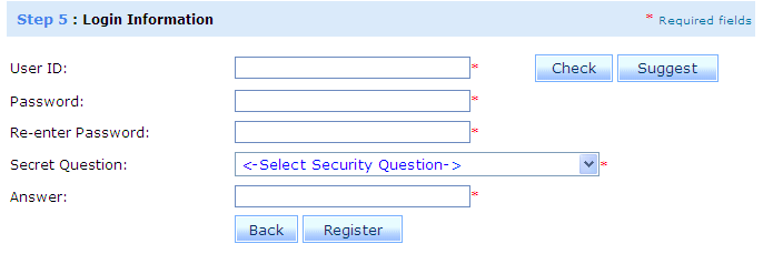 Registering Prescribers and Providing Facilities Step 5: Login Information: 1. In the User ID field you may enter your own unique user ID, then click the button to confirm that ID is available.