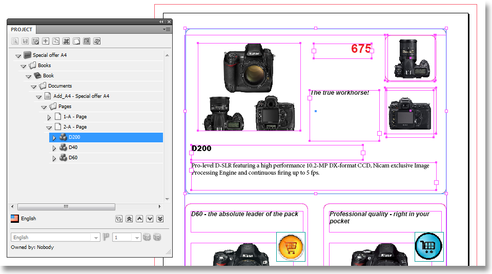 User Manual 5.1 Introduction In the following example, we have used a snippet with some text frames and image frames to present the D200 product. The content for these frames is fetched from the CMS.