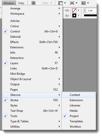 2.1 Starting the Plug-in 1. Open InDesign. 2. Select the Window menu. 3. Select Sitecore. 4.
